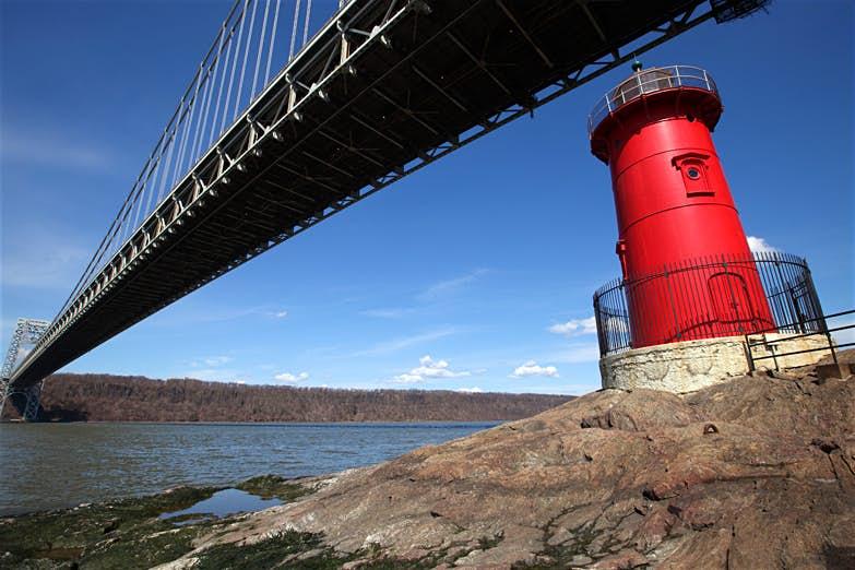 Red Lighthouse under the George Washington Bridge. New York City