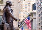 The statue of George Washington at the Federal Hall in New York City