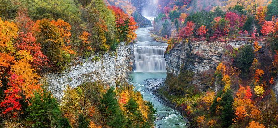 Letchworth Middle falls in Fall Photograph by Mark Papke